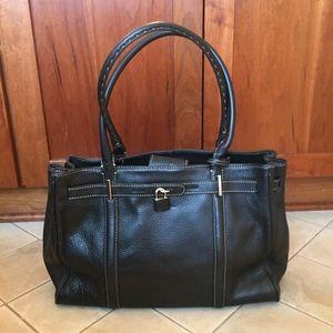 Ann Taylor Black Pebbled Leather Tote EUC